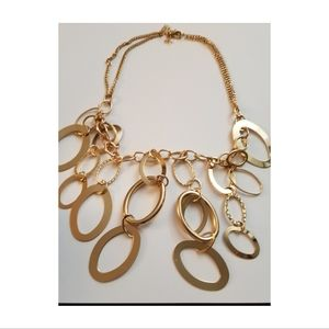 Gold Circle Link Waterfall Necklace & Earring